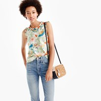J.Crew Ornate Floral Ruffle Trim Top In Silk