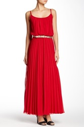 Robbie Bee Pleated Maxi Dress Red