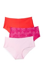 Calvin Klein Underwear Invisibles Hipster 3 Pack Unique Viva Pink Evocative Red