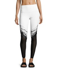 Alo Yoga Verse High Waist Mesh Panel Leggings White Black White Pattern