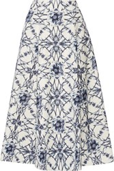 Marchesa Notte Printed Cotton And Silk Blend Midi Skirt Storm Blue