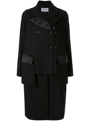 Dice Kayek Deconstructed Double Breasted Coat Black