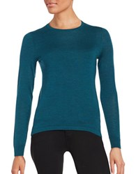 Lord And Taylor Petite Crewneck Merino Wool Sweater Teal Heather