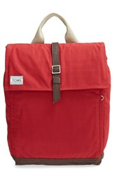 Toms 'Trekker' Waxed Canvas Backpack Red Chili