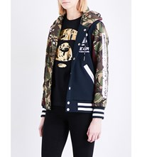Aape By A Bathing Ape Camouflage Print Jersey Bomber Jacket Multi