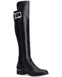 Calvin Klein Women's Cyra Wide Calf Over The Knee Boots Women's Shoes Black Leather
