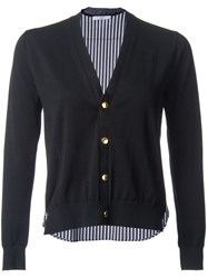 Astraet Contrast Back Button Down Cardigan Black