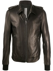 Rick Owens Ribbed Cuff Leather Jacket 60