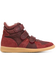 Maison Margiela Vintage Geometric Paneled Sneakers Red