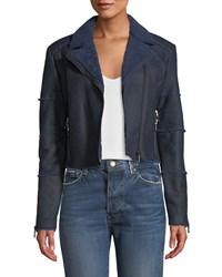 J Brand Aiah Cropped Leather Shearling Moto Jacket Navy