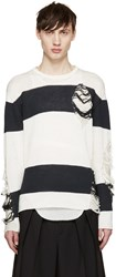 Miharayasuhiro White And Navy Distressed Sweater