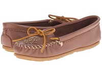 Minnetonka Deerskin Beaded Moc Carmel Deerskin Women's Moccasin Shoes Brown
