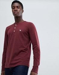 Abercrombie And Fitch Icon Logo Long Sleeve Henley Top In Burgundy Red