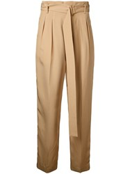 Cityshop High Waisted Cropped Trousers Nude Neutrals