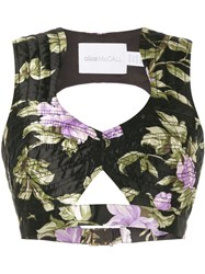 Alice Mccall Wild Flowers Cropped Top Black