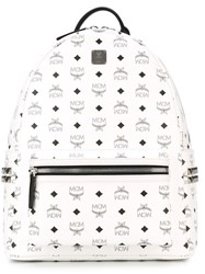 Mcm Logo Print Backpack White