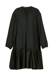 Rochas Tie Back Gathered Crepe Dress Black