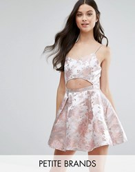 Missguided Petite Cut Out Baroque Print Mini Dress Pink