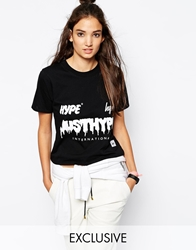 Hype X Asos Cropped T Shirt With Dripping Logo Black
