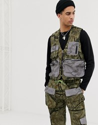 Jaded London Utility Vest In Camo Print With Reflective Pockets Green