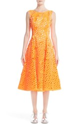Paskal Women's Floral Laser Cut Fit And Flare Dress