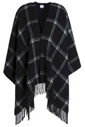 Iris And Ink Stephanie Fringed Checked Wool Wrap Black