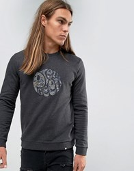 Pretty Green Sweatshirt With Paisley Logo Applique In Slim Fit Gray Gray
