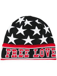 Dolce And Gabbana Knitted 'Free Love' Hat Black