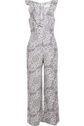 Zimmermann Empire Flute Printed Linen Jumpsuit White