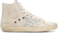 Golden Goose Ivory And Silver Francy High Top Sneakers