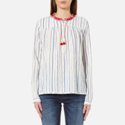 Maison Scotch Women's Drapey Woven Stripe Top With Embroidered Collar Multi