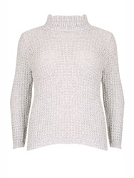 Samya Plus Size Cable Knit Roll Neck Jumper Cream