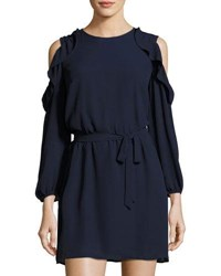Collective Concepts Cold Shoulder Ruffle Trim Dress Navy