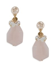 Carolee Garden Party Quartz And Simulated Pearls Drop Earrings Gold