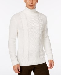 Tasso Elba Men's Turtleneck Mixed Stitch Sweater Only At Macy's Pearl