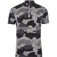 River Island Mens Black Abstract Camo Muscle Fit Polo Shirt