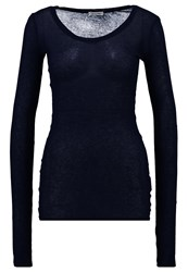 American Vintage Massachusetts Long Sleeved Top Navy Dark Blue