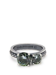 Bottega Veneta Cubic Zirconia And Silver Ring Green