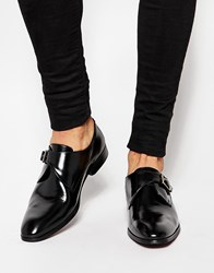 Asos Monk Shoes In Black Leather With Buckle Black