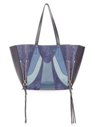 Chloe Milo Patchwork Suede And Leather Tote Biscotti Beige Full Blue