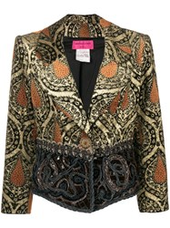 Christian Lacroix Vintage Jacquard Fitted Jacket Brown