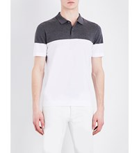 Brunello Cucinelli Regular Fit Knitted Cotton Polo Shirt White Lead Grey