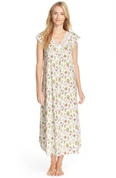 Carole Hochman Designs Flower Print Cap Sleeve Long Nightgown Floral Decor Ivory