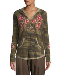 Johnny Was Axton Thermal Pullover Hoodie With Embroidery Molly Camo