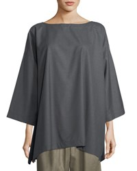 Eskandar Slim A Line 3 4 Sleeve Top Gray