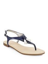 Saks Fifth Avenue Giordana Faux Leather Tassel Thong Sandals Blue