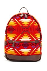 Pendleton Printed Genuine Leather Backpack Red