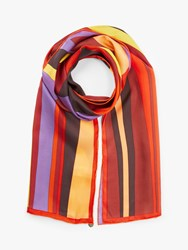 Fraas Abstract Print Oblong Silk Scarf Red Multi