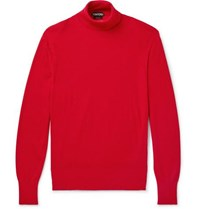 Tom Ford Ribbed Cashmere And Silk Blend Rollneck Sweater Red