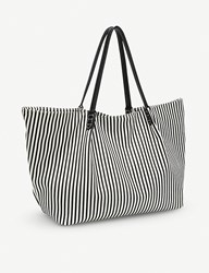 Folli Follie Island Riviera Large Striped Tote Bag Black White